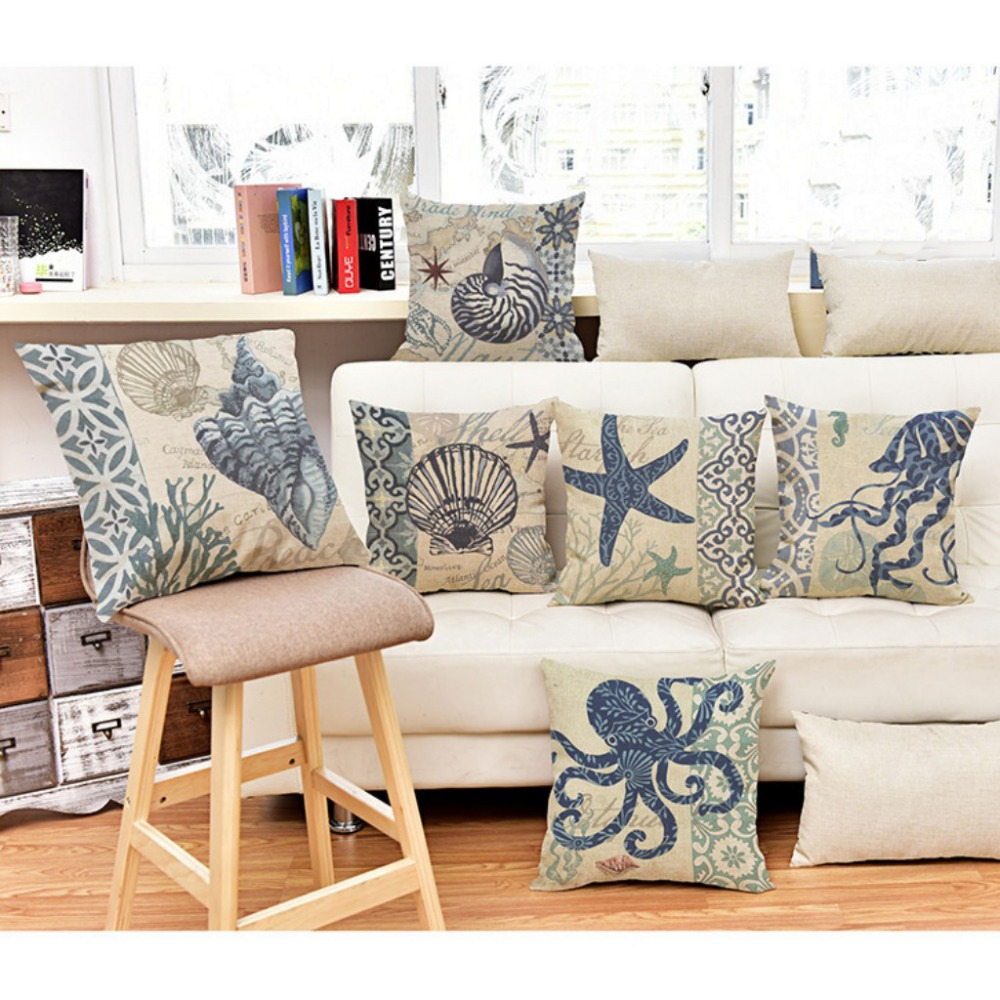 Vintage Marine lives Floor Cushion Cover Acqutics Lives Starfish Octopus Jellyfish Conch Home Decorative Sofa Throw Pillow Cases