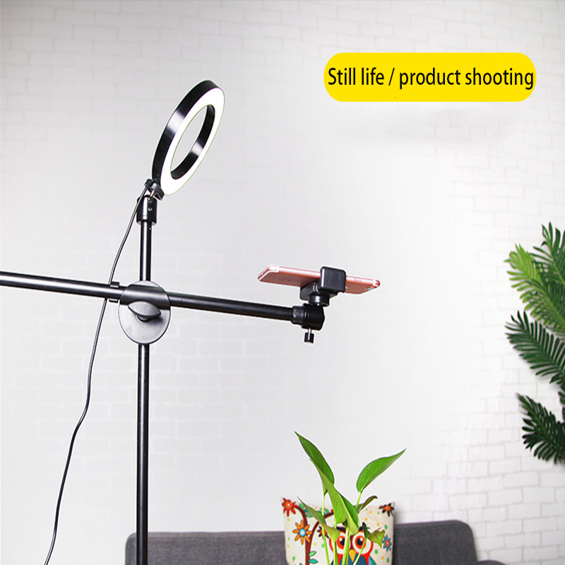 Adjustable Photography Mobile phone high angle shot bracket With Boom Arm Bluetooth Ring Light Tripod For