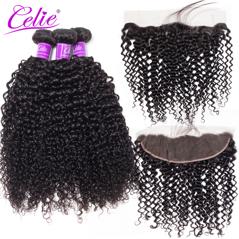 Celie Hair Brazilian Curly Hair Bundles With Frontal 100% Remy Human Hair Weave 3 Bundle Deals Lace Frontal Closure With Bundles-in 3/4 Bundles with Closure from Hair Extensions & Wigs    1