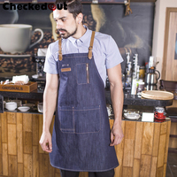 Checkedout new trend unisex apron denim fabric uniform leather apron for the restaurant