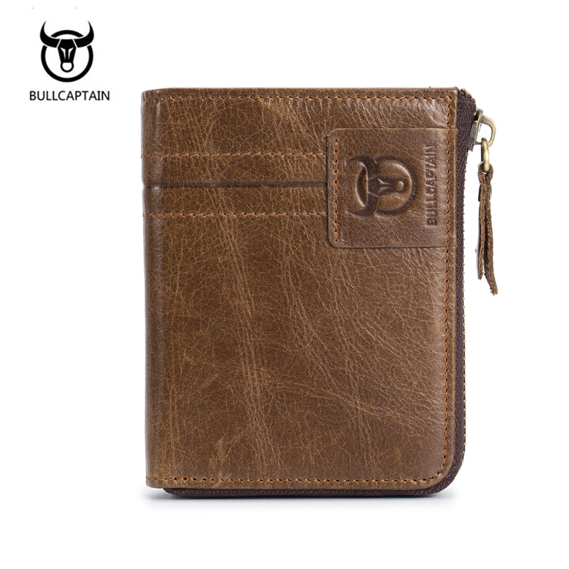 BULL CAPTAIN Fashion Cow Genuine Leather Zipper Leisure Men's Slim Leather Mini Wallet Case Credit Card Bifold Short Coin Purse leather look mini skirt with zipper details