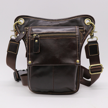 Fashion Style Genuine Leather Belt Bag Men's Waist Bag Leg Pouch Pack Mobile Phone Camera Organize Multi-function Casual Bags