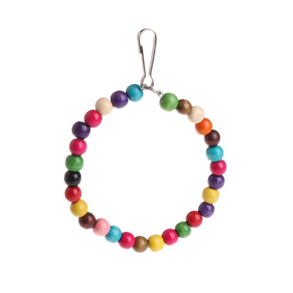 Let's Pet деревянные птицы попугаи игрушки подставка держатель висячие качели кольца с красочными шарами - Цвет: M