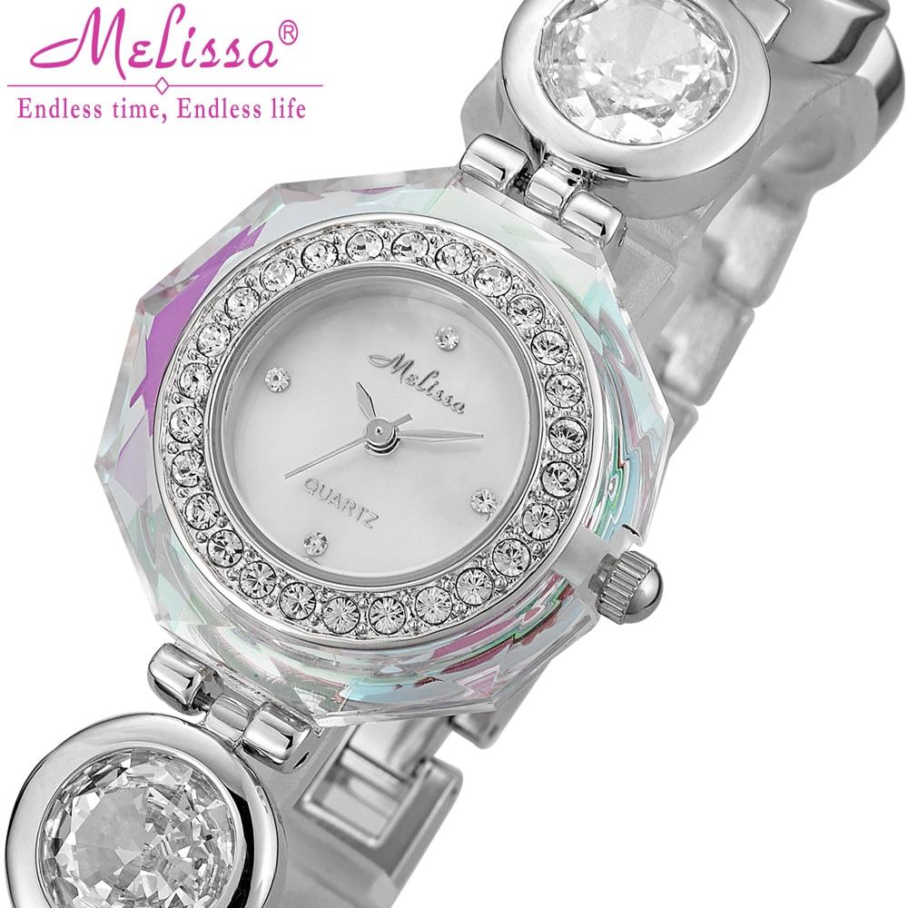 все цены на Luxury Melissa Lady Women's Watch Elegant Full Rhinestone CZ Fashion Hours Bracelet Crystal Clock Girl Birthday Gift Box