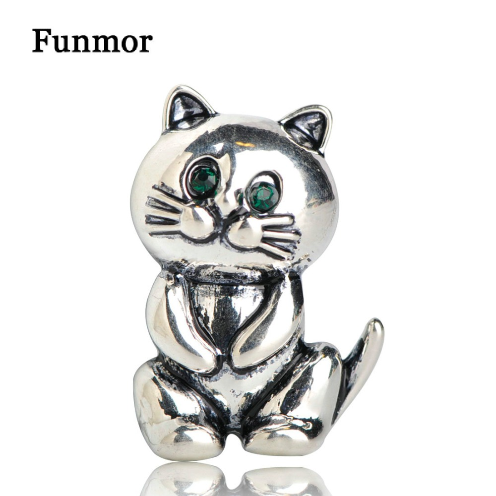 Funmor Vintage Cat Shape Brooches For Women Kids Gifts Silver Color Lovely Fat Alloy Animal Suits Sweater Scarf Buckle Hijab Pin