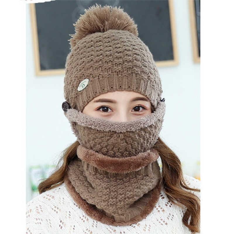 ファッションニットウールキャップ、マスクとスカーフセット女性の冬厚く暖かいキャップ帽子セットエレガントなスカーフ帽子女性の冬のセット