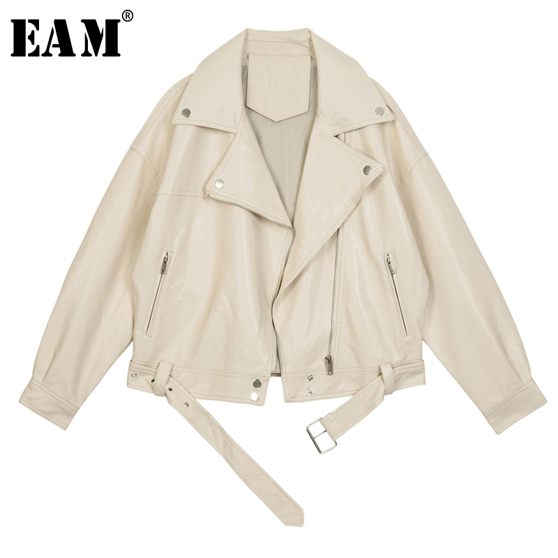 [EAM] 2020 New Spring Autumn Lapel Long Sleeve Apricot Pu Leather Loose Big Size Short Jacket Women Coat Fashion Tide JX445