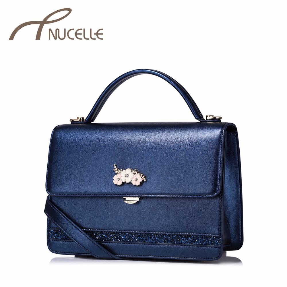 NUCELLE Women PU Leather Handbags Ladies Fashion Flower All-match Messenger Tote Purse Female Rivet Flap Shoulder Bags NZ5948 2017 fashion all match retro split leather women bag top grade small shoulder bags multilayer mini chain women messenger bags