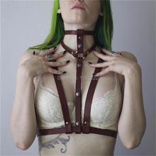100% Handcrafted Choker Harness Body Bondage Caged Leather Sculpting Chest Bra Waist Belt Straps