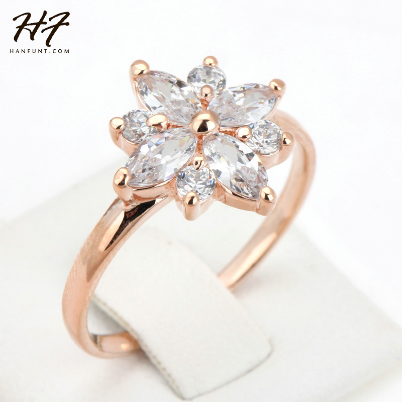 Snowflake CZ Crystal Wedding Rings anel Rose Gold Color Fashion Brand Retro Stone Jewelry For Women Bijoux R236 R275