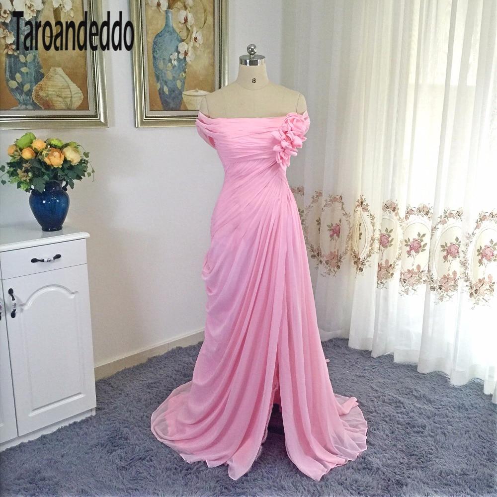 Fuera del hombro acanalada gasa flores rosa vestido largo Raja del ...