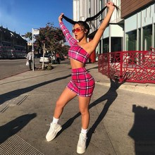 Women One Shoulder Two Piece Set Sexy Asymmetric Crop Top And Short Skirt Sets Plaid Outfits Summer Skirt Suit overlap crop top and plaid skirt
