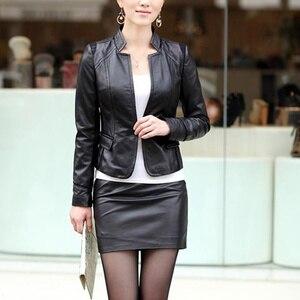 Image 2 - נשים סקסי רך עור מפוצל גבוהה מותן Slim עיפרון Bodycon קצר מיני חצאית ליידי הדוק למתוח שחור Midi OL חצאיות Clubwear