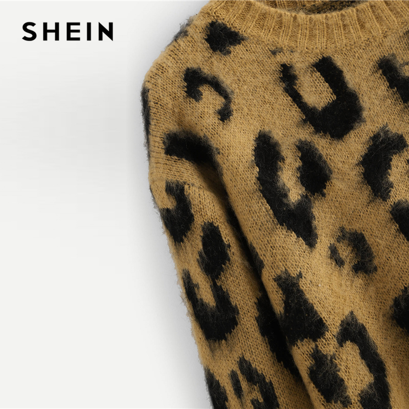 aca72979cd80 SHEIN Multicolor Highstreet Elegant Leopard Print Fuzzy Round Neck  Pullovers Jumper 2018 Autumn Casual Campus Women Sweaters-in Pullovers from  Women's ...
