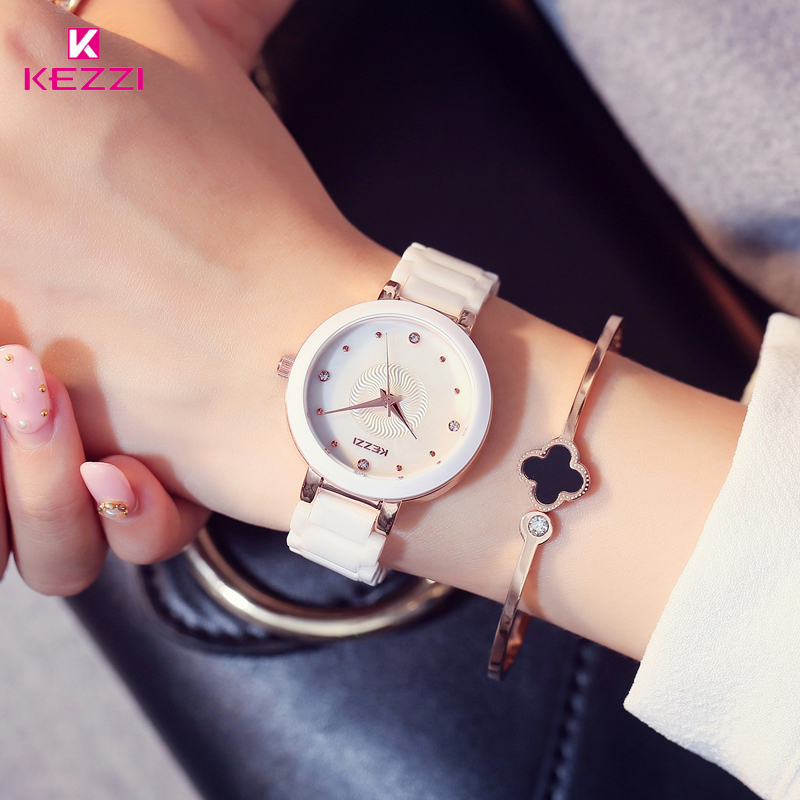 KEZZI Top Brand Relogio Feminino Women's Ceramic Wrist Watches Shell Rhinestone Ladies Bracelet Watch Waterproof Quartz Watch