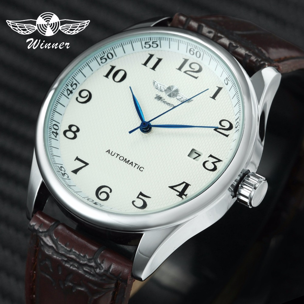 WINNER Official Dress Watch Men Automatic Mechanical Date Display Brown Genuine Leather Strap Minimalist Wristwatch Montre Homme