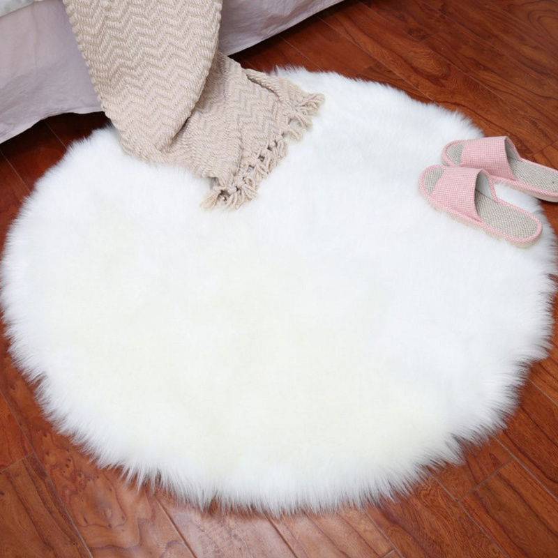 180cm New Soft Faux Fur Wool Living Room Sofa Carpet Plush Carpets Bedroom Cover Mattress Xmas Door Window Round Rugs Carpets in Carpet from Home Garden