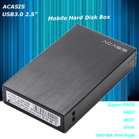 Acasis DT S2 5Gbps USB3.0 eSATA 2.5 Dual Hard Drive Disk Raid Enclosure 2TB 2 Bay Aluminum HDD Support RAID0 RAID1 JBOD SPAN