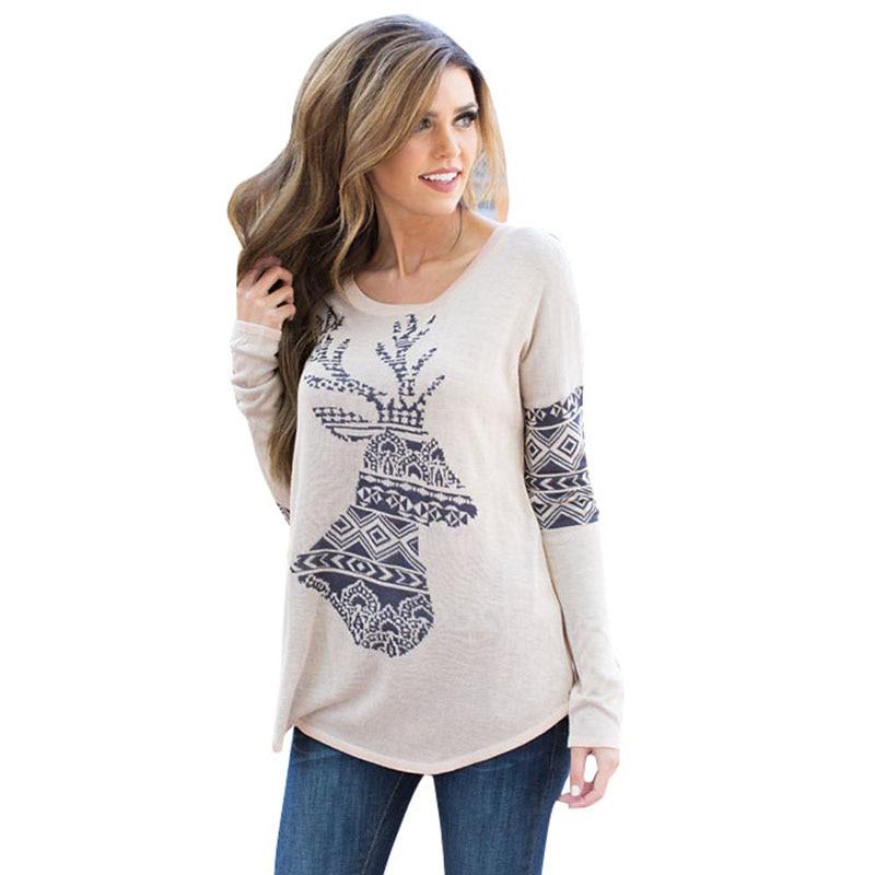 2015 fashion women christmas deer print t shirt autumn long sleeve tee shirts t shirt women tops. Black Bedroom Furniture Sets. Home Design Ideas