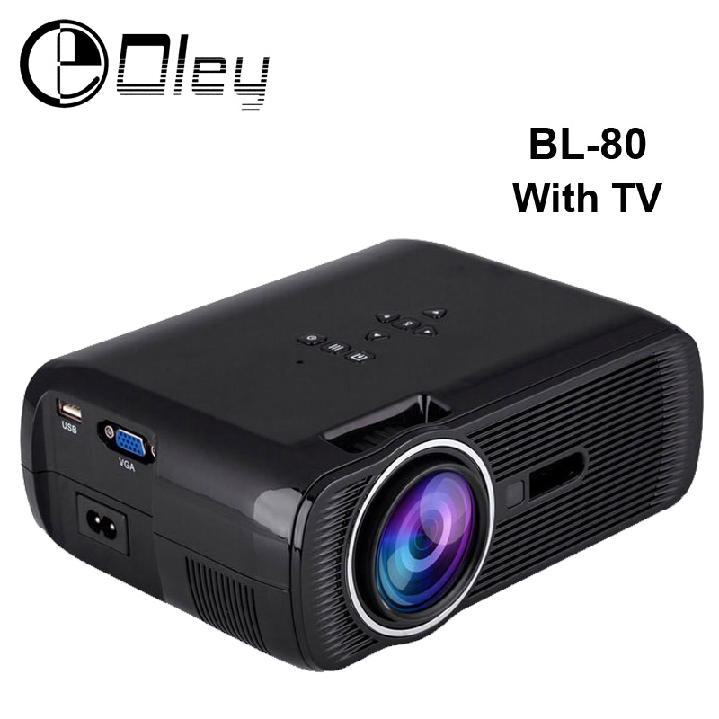 WZATCO BL-80 Portable 1800Lumens 800x480 Multimedia Mini LED Projector Movie Proyector Beamer With TV VGA,USB,HDMI,SD for home