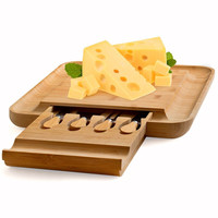 XMT HOME 100% Natural Bamboo Cheese Board set with cheese knives and Drawer