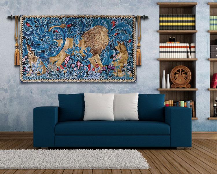82x140cm trabajo de guillotín Rey León tapiz decorativo para colgar en la pared decoración marroquí de Bélgica alfombra de algodón - 3