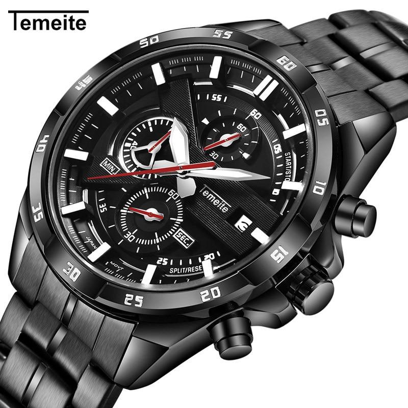 Temeite Mens Watches Top Brand Luxury Sport Watch Men Stainless Steel Big Dial Calendar Quartz Wristwatch Male Reloj Hombre 2018 все цены