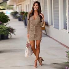 4966cd5b780 Coton automne femmes Mini robe 2018 nouveau printemps décontracté femme  courte robe solide couleur à manches longues profonde V ..