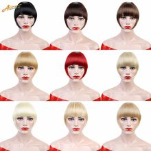 Hair Short Fringe Blonde Clip In Hair Bangs Hairpiece Heat Resistant Fake Bangs Hair Piece Natural Clip In Hair Extensions ALL(China)