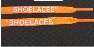 """Vieruodis печать """"шнурки"""" черный белый оранжевый зеленый OW подписанные шнурки для офф обуви овальные веревочные шнурки - Цвет: orange"""