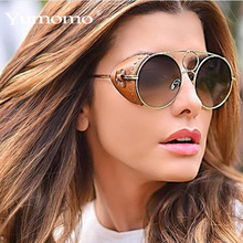 2019 Luxury Brand Steampunk Round Sunglasses For Women Pu Leather Frame Alloy Sun Glasses Men Vintage Rivet Punk Shades Ins Hot