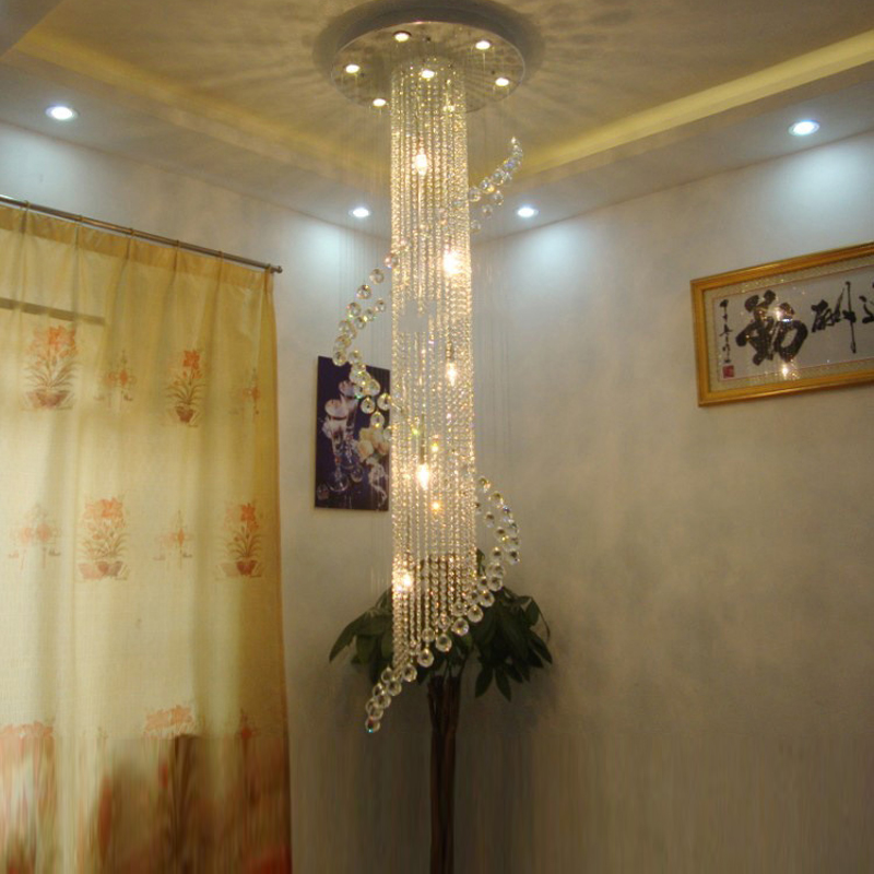 Long Crystal Stair Lamp Flush Mounted Stair Light Fitting for staircase villa lustres Spiral Crystal Chandelier Light Fixture