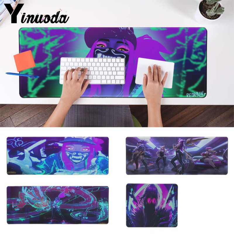 Yinuoda Simple Design KDA Evelynn Lol Rubber Mouse Durable Desktop Mousepad Rubber PC Computer Gaming Mousepad