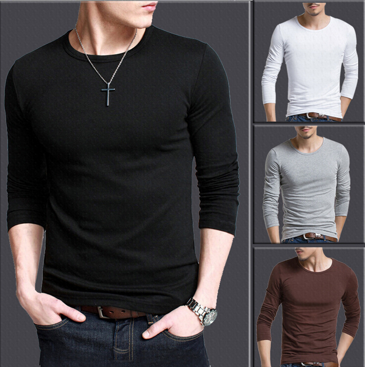 Solid color plus size s xxxl round neck t shirts men long Fitness shirts for men