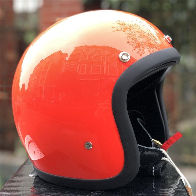 TT & CO fatto a mano retrò moto casco 3/4 Aperto Viso casco moto D'epoca stile DD anello fibbia Sottile Borsette vecchio Stile Moto - 5