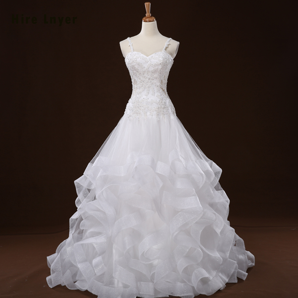 Hire Lnyer New Special White Gorgeous China Bridal Gowns Appliques Beading Sequin Ruffles Skirt Princess Wedding Dresses China