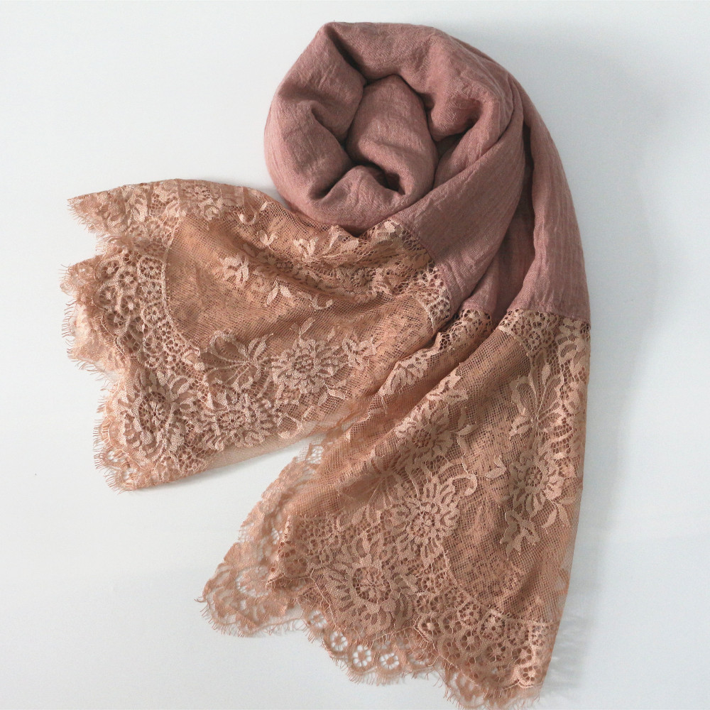 New Winter Spring Lace Scarf Floral Muslim Hijab Solid Color Wraps Can Choose Color