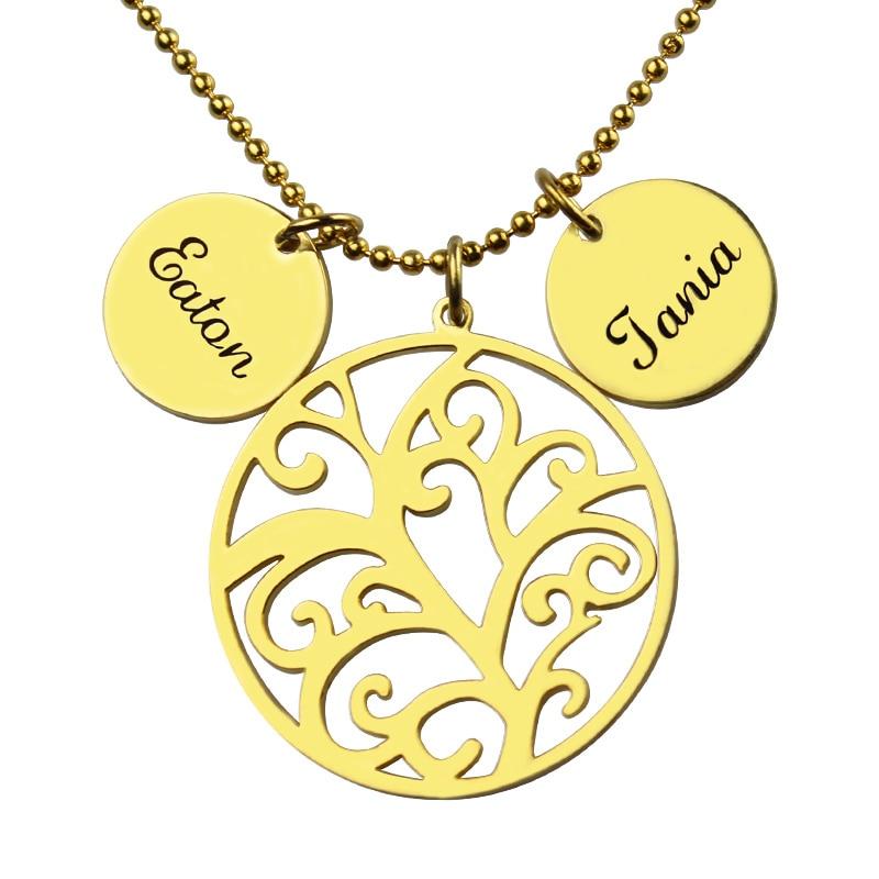 50041a1e6b26 Árbol de familia collar oro color personalizado mamá collar grabado nuestra  Familia Nombre collar placa joyería