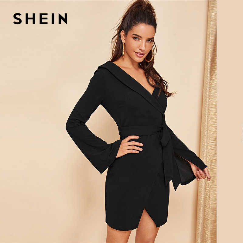 fb77236063243 SHEIN Black Asymmetric Shoulder Wrap Dress Party Sheath Short A Line Plain  Short Dresses Women Elegant Highstreet Autumn Dresses