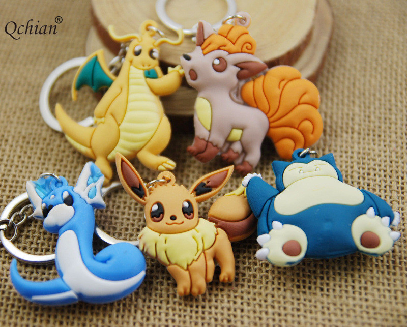 Cartoon Version Go Silicone Double-sided Decorative Pendant Ultimate Evolutiont Keychain Beautiful Gift for Kids