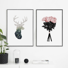 ZeroC Posters And Prints Wall Art Canvas Painting Flower Pictures For Living Room Geometric Deer Nordic Decoration