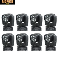 8units LED Moving Head Zoom Light 16 DMX Channel 7*12W RGBW 4IN1 Color DMX 7x12w Beam Light Moving Head Light Professional Stage