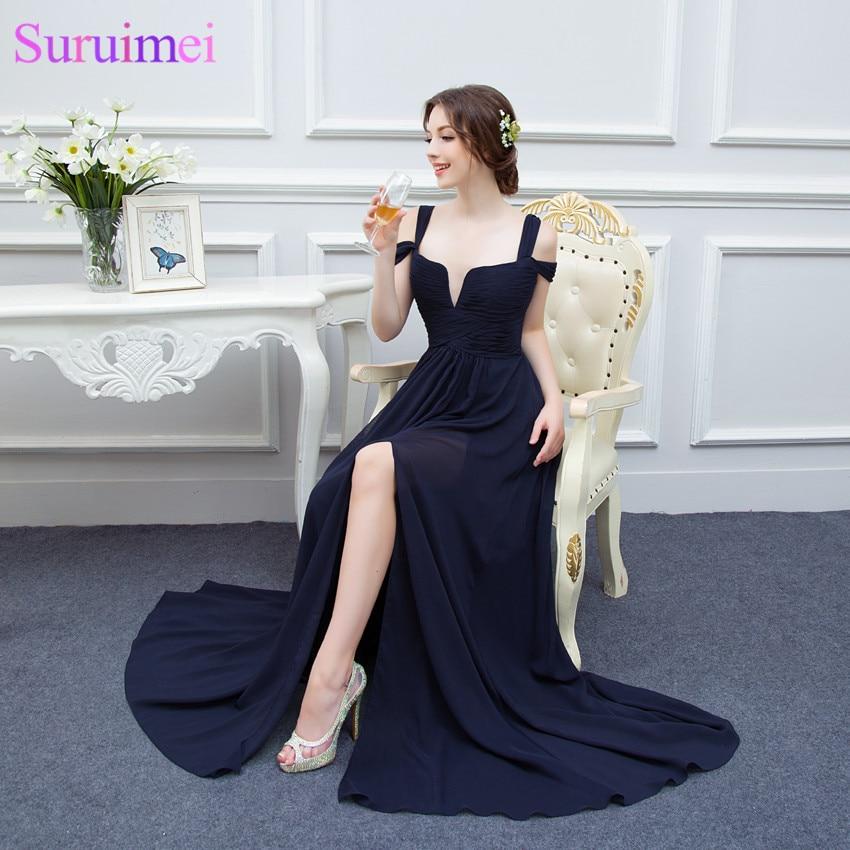Bariano Ocean Of Elegance Navy Blue Low Cut High Slit Chiffon Semi Formal  Long Evening Dress Women Gown Free Shipping WL214-in Evening Dresses from  Weddings ... 17e1ac3e5db1