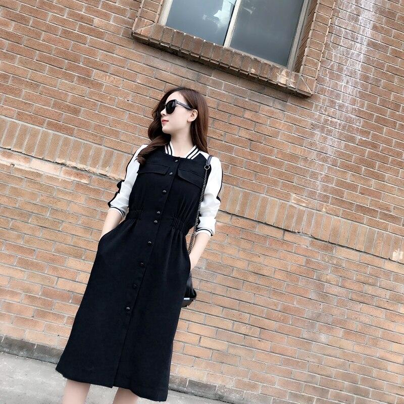 Black Blac Mince 2018 Corps Style Milieu Longueur Couture And Printemps medium Et Vêtements Pour Noir Robe Long Automne Taille Femmes Nouveau rotBQCxshd