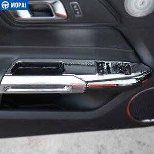 Image 3 - Para coches MOPAI de elevación de ventana Interior para coche, Panel de botón interruptor, cubierta decorativa, pegatinas embellecedoras para Ford Mustang 2015 + Accesorios de coche