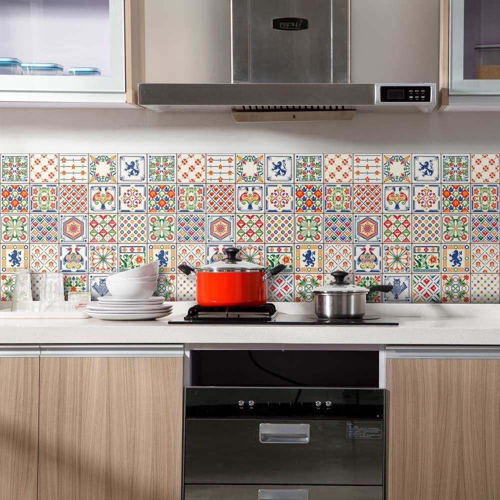 60cmx2m European Bohemia Self Adhesive Wallpaper PVC Waterproof Tile Sticker For Kitchen Bathroom Home Decor