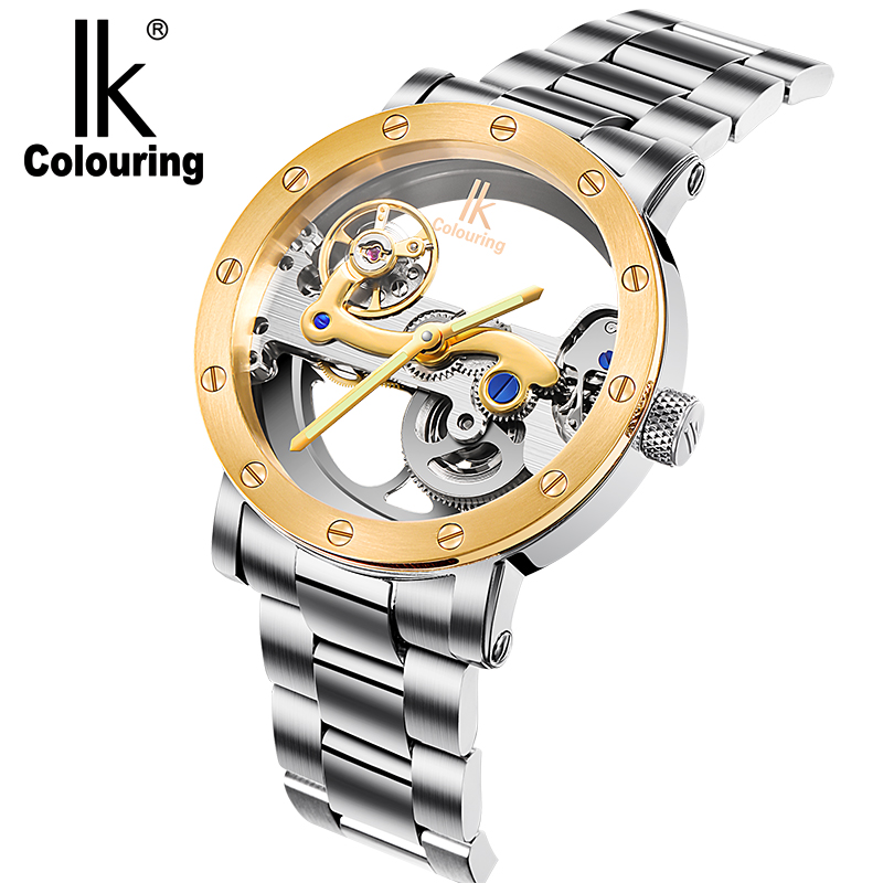 IK colouring Gold Hollow Automatic Mechanical Watches Men Luxury Brand Leather Strap Casual Vintage Skeleton Watch Clock relogio ik colouring gold skeleton mechanical hand wind watches men luxury brand business dress silver steel watch male clock relogio