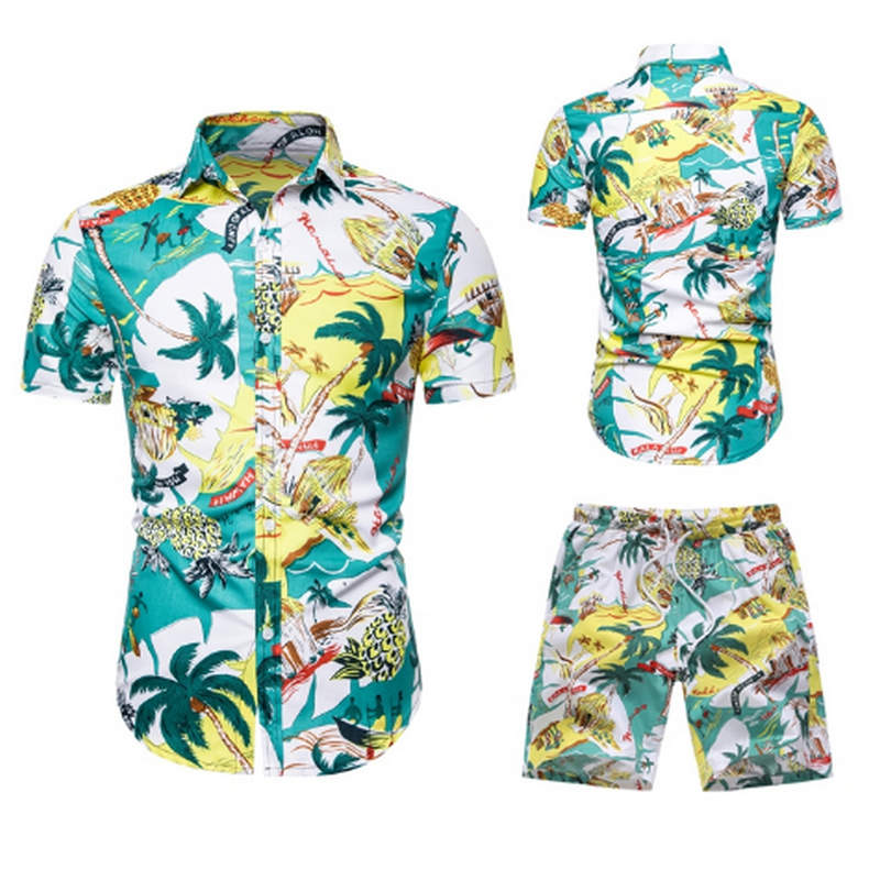 HTB1OGv2akL0gK0jSZFxq6xWHVXav - Summer Fashion Floral Print Shirts Men+Shorts Set Men Short Sleeve Shirts Casual Men Clothing Sets Tracksuit Plus Size
