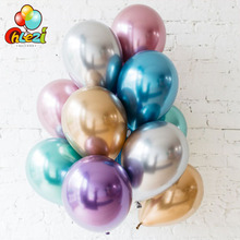 10pcs 12 inch Chrome Metallic Round Latex Balloons Gold Silver Pink Wedding Market hotel Birthday Party decor Helium balloon
