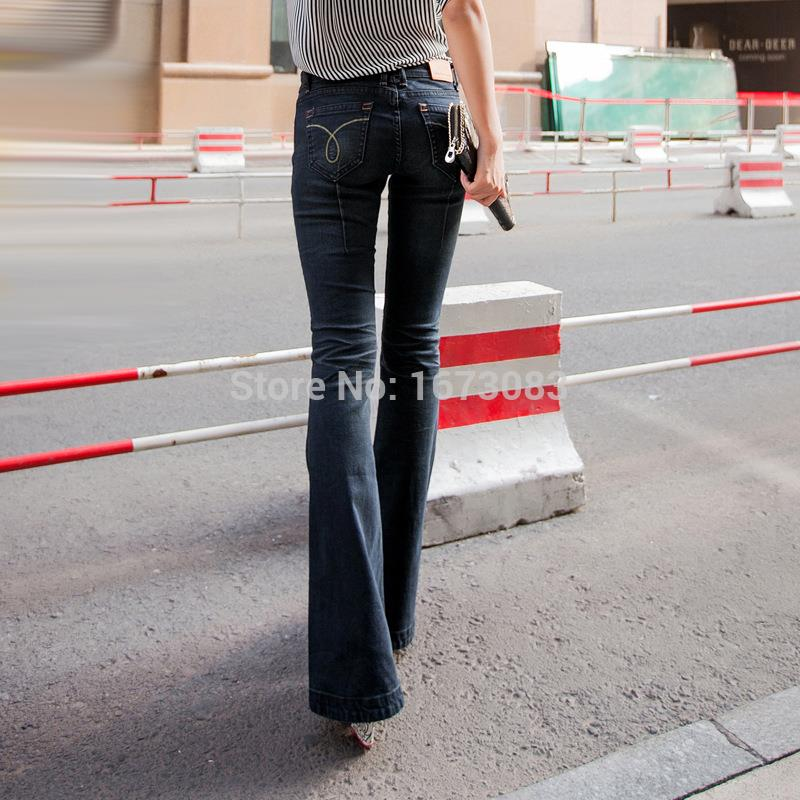 Women light blue vintage trumpet super flare jeans womens low rise ...